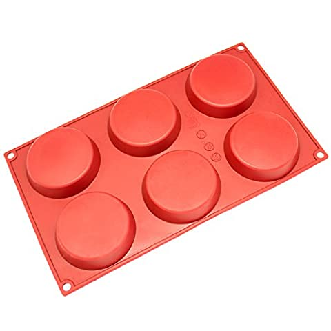 Freshware SM-116RD 6-Cavity Silicone Mini Disc Cake, Pie, Custard, Tart and Resin Coaster Mold