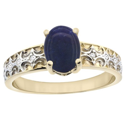 14K Yellow Gold Natural Lapis Ring Oval 8x6 mm Diamond Accents, size 7.5