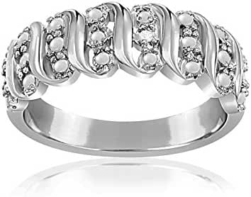 Lumineux Diamond Womens Diamond Accent Wavy Design Ring, White Gold & Rhodium Plated Brass