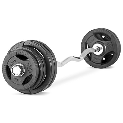 XMark Fitness Olympic EZ Curl Bar With Durable Nylon Bushings And 65 lb. Olympic Weight Set Package by XMark