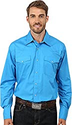 Roper Men's 9792 Solid Poplin - Blue Blue Button-up Shirt SM