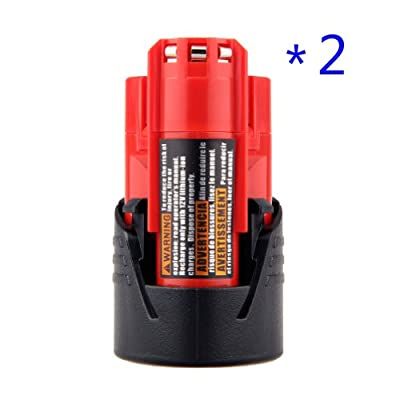TOPCHANCES 2 Packs New High Quality Milwaukee 48-11-2401 M12 RED LITHIUM 12-volt Cordless Tool Battery 48-59-1812/2510-20/48-59-2401