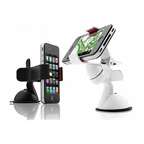 Egmy® 2016 Universal 360°Rotating Car Windshield Mount Holder Stand Bracket for Cell Phone (White)