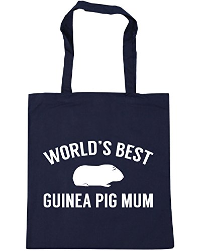 HippoWarehouse World's best guinea pig mum Tote Shopping Gym Beach Bag 42cm x38cm, 10 litres French Navy