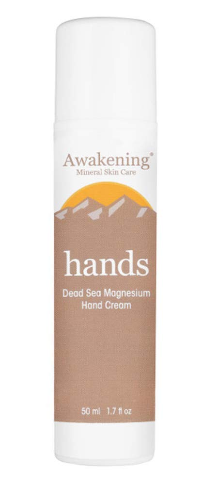 AWAKENING Hands - Magnesium-Rich Hydrating Hand Cream - Hand Lotion With Myrrh Extract and Concentrated Dead Sea Minerals for Dry Hands - PURSE & POCKET Size Airless Pump 50ml/1.75oz
