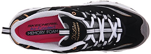 Lace Sneaker Foam Gold Women's Black Skechers D'Lites Memory up qYxISzPw
