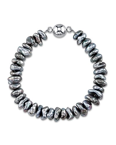 7-10mm Sterling Silver Rare Natural Tahitian South Sea Keshi Cultured Pearl (Sterling Silver Tahitian Pearl Bracelet)