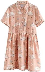 Packitcute Summer Teen Girls Dresses Cute Bunny Print Short Sleeve Lolita Casual Dress