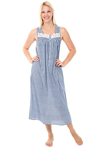 Alexander Del Rossa Womens 100% Cotton Lawn Nightgown, Sleeveless Sleep Dress, Large Navy Blue Gingham (A0586V87LG)