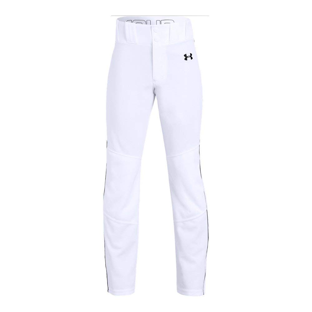 Under Armour Boys' Utility Relaxed Piped Baseball Pant, White (100)/Black, Youth Medium by Under Armour