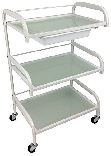 Optimus Glass White Salon Trolley - Mist Style - Hairdresser Barber Hair Beauty Drawers Spa Cart ST-OP-MISTA