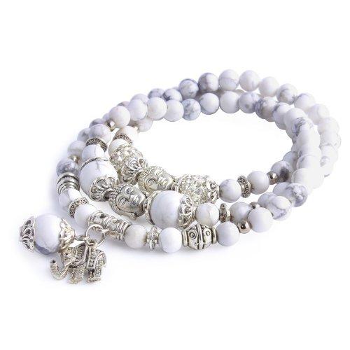 Merdia Schmuck Wei? T¨¹rkis Thailand Baddha Elefant Charm Abgerundete Perlen Stretch Armband