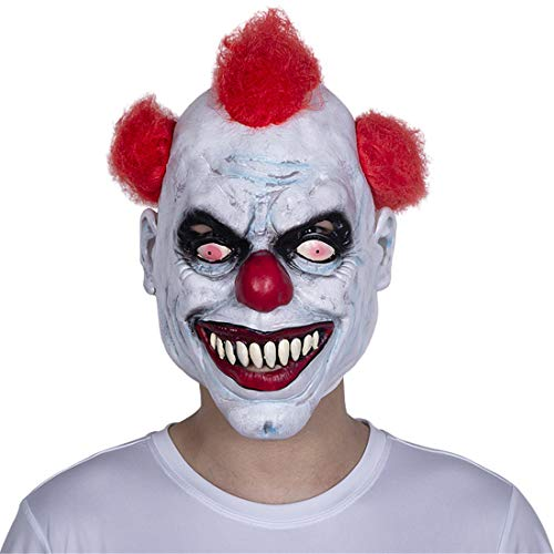 micrkrowen Halloween Horrific Demon Adult Scary Clown Cosplay Props Devil Flame Zombie Mask White -