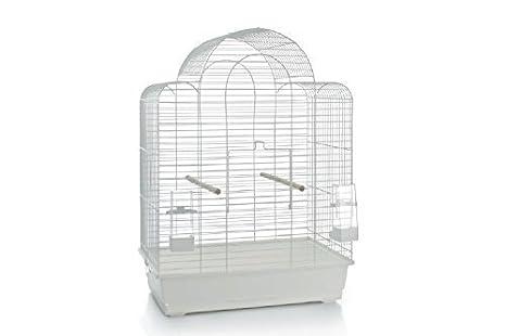 XXL Blanco jaula con pájaro pajarera Jaulas XL 45x 47x 74cm ...