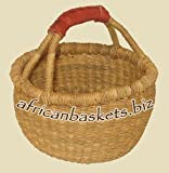 Bolga Baskets International Small Market Basket w/ Leather Wrapped Handle (NATURAL)
