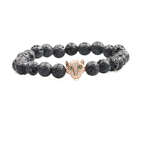 Genuine Lava Stone Beads Stretchy Elastic Bracelet with Jeweled Leopard Head Charm, 8mm, Unisex, for Friendship, Couples, Teens, by Big Cat (Agate Beads Bracelet Elastic)