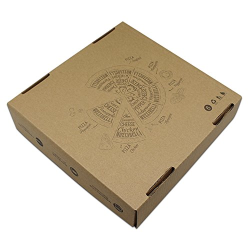 7.1x7.1x1.6 inch 50 Pieces Brown Paperboard Rectangle Disposables Food Supplies Pizza Package Boxes Kraft Folding Plain Pizza Box for Lunch Treat Cooking BBQ by PABCK (Image #1)