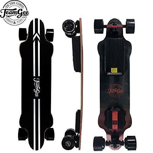 "Teamgee H20 39"" Electric Skateboard,26 Mph / 42Kph Top Speed,600W Dual Motor, 25-30KM Range, Max Load 286 Lbs, 8 Ply Canadian Maple and 1 Ply Fiberglass"