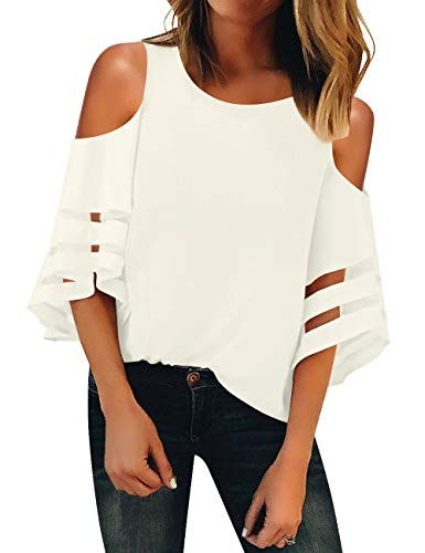 Luyeess Women's Casual Crewneck Cutout Open Shoulder Loose Mesh Panel Chiffon 3/4 Bell Sleeve Blouse Top Shirt Tee White Color, Size M(US 8-10)