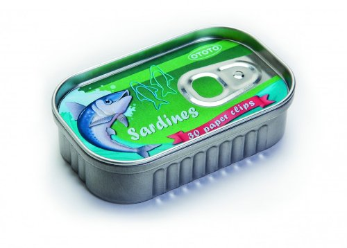 1 X Sardine Fish Shaped Paper Clips in a Tin Sardines Box - 30 - Shaped Tin