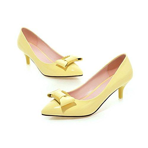 VogueZone009 Damen Mittler Absatz Lackleder Rein Ziehen auf Spitz Zehe Pumps Schuhe Gelb