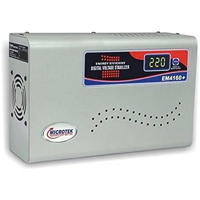 Microtek EM4160+ 160V 285V Digital Display Voltage Stabilizer  Grey  for AC Upto 1.5 Ton Voltage Stabilizers