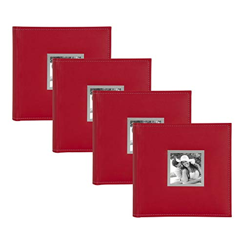 - DesignOvation Sleek Faux Leather Red Photo Album, Holds 100 5x7 or 200 4x6 Photos, Set of 4