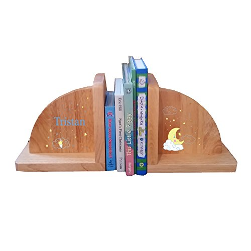 Personalized Moon and Stars Natural Childrens Wooden Bookends by MyBambino