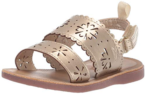 OshKosh B'Gosh Aditi Girl's Floral Cut-Out Sandal, Gold, 11 M US Toddler (Gold Sandals Size 11)