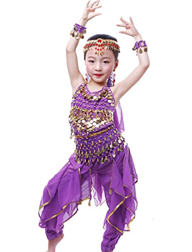 Astage Girls Oriental Belly Dance Sets Costumes All accessories Purple M(Fits 5-7 Years) ()