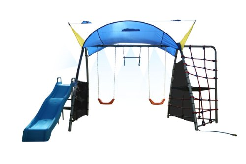 IRONKIDS Challenge 300 Refreshing Mist Swing Set with Rope Climb, Expanded UV Protective Sunshade ()