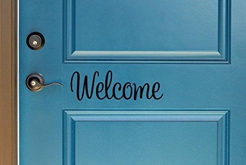 Welcome Indoor/Outdoor Lettering Wall Art Decor Sticker Vinyl for Door 5'' X 14'' (Black, Matte) by ORACAL