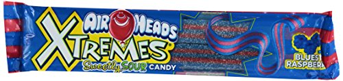 Airheads Xtremes Sweetly Sour Candy Belts, Bluest Raspberry, 2 Ounce (Bulk Pack of 18)