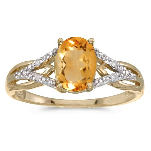 Jewels By Lux 14k Yellow Gold Genuine Birthstone Solitaire Oval Citrine And Diamond Wedding Engagement Ring - Size 8.5 (1.07 Cttw.)