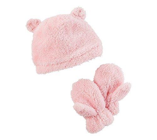 Carter's Girls' 12 Months-4T Sherpa Hat and Mittens Set Light Pink