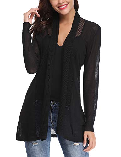 Abollria Womens Casual Long Sleeve Open Front Cardigan Sweater(Black,S)