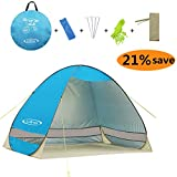 G4Free Outdoor Automatic Pop up Instant Portable Cabana Beach Tent 2-3 Person Fishing Anti UV Beach Tent Beach Shelter, Sets up in Seconds 78.7″ x 47.2″x 51.2″