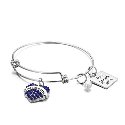 FLODANCER Medical Alert Bracelet, Personalized Bracelet Bangle and Child ID For Women, Silver Stainless Steel Adjustable charm for girls, live love laugh (type 2 ()
