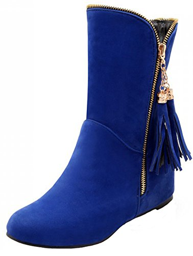 Summerwhisper Women's Stylish Fringes Round Toe Heighten Inside Low Heel Side Zipper Velvet Short Boots Blue 13 B(M) US by Summerwhisper