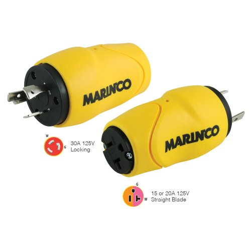 30a 125v Straight Adapter - Marinco Straight Adapter, 30A Male - 15A Female (47078)