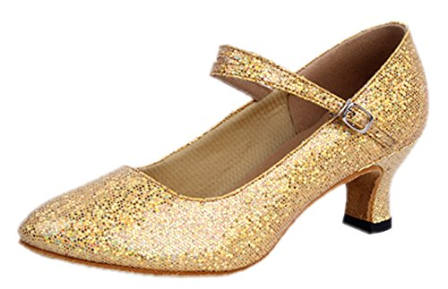 Honeystore Women's Soft Ground Mary Jane Glitter Dance Shoes Gold 6 B(M) US (Ground Soft)