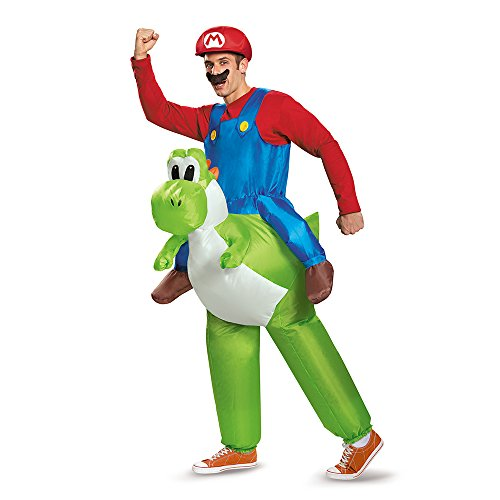 Disguise Men's Mario Riding Yoshi Adult Costume, Multi, One Size - Video Game Costumes