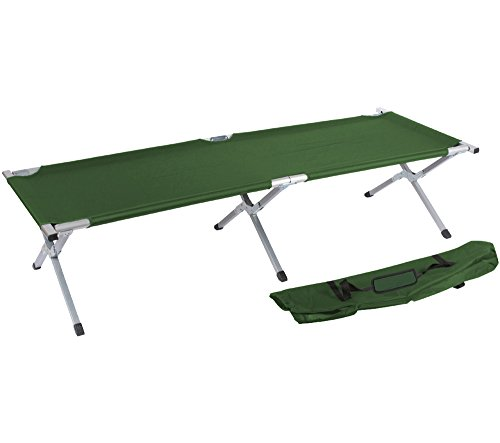 Camping Bed and Cot By Trademark Innovations (Army Green) (Military Cot)