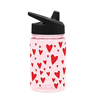 Simple Modern Kids Tritan Summit Sippy Cup for Toddlers - 12oz Plastic Baby Water Bottle for Girls and Boys - Hearts on Pink