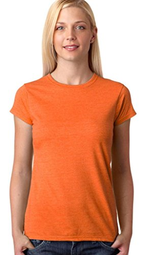 Maglietta Heather Gildan Maniche Donna Orange Corte aqxdwrxg