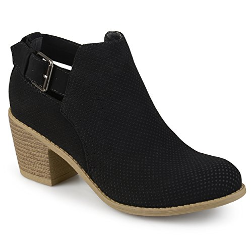 Journee Collection Womens Buckle Laser Dot Booties Black, 11 Regular US ()