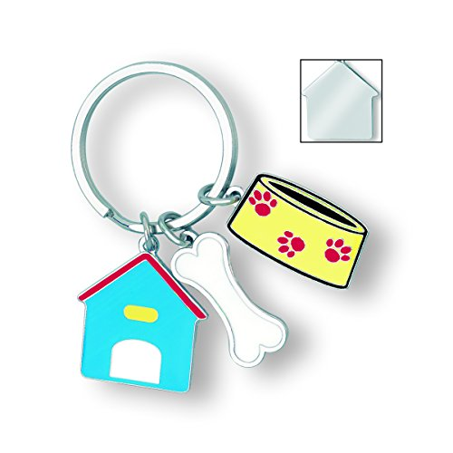 (Cute Gift, A Dog's Life Keychain With 3 Charms: Dog House, Bone And Bowl)