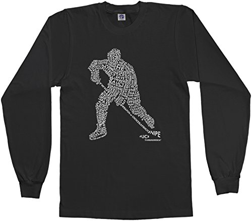 Threadrock Big Boys' Hockey Player Typography Design Youth L/S T-shirt