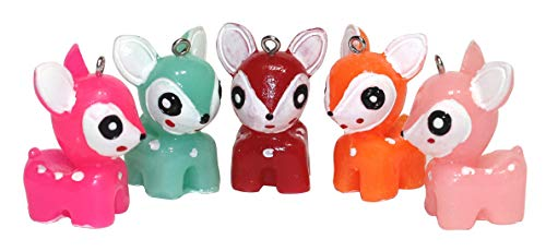 Lucore Colorful Reindeer Deer Pendant Charms - 5 PC Set of Cute Mini Fawn Ornaments and DIY Craft Supply