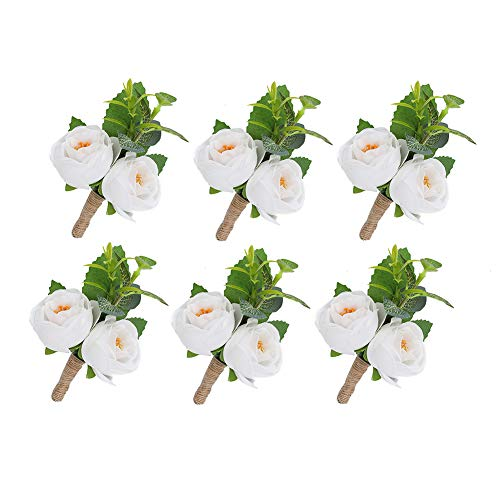 (YSUCAU Handcrafted Boutonniere with Pin for Men Wedding, Groom Groomsman White Boutonniere Artificial Flower for Wedding Party Prom Man Suit Decoration (Set of 6) )